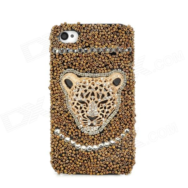 Fashion Leopard Head Crytal Back Case for Iphone 4 / 4S - Golden + Black luxury bling crystal back case for iphone 4 4s black