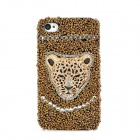 Fashion Leopard Head Crytal Back Case for Iphone 4 / 4S - Golden + Black