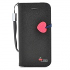 HELLO DEERE Protective PU Leather Case Cover Stand w/ Card Slots / Strap for Iphone 5 - Black