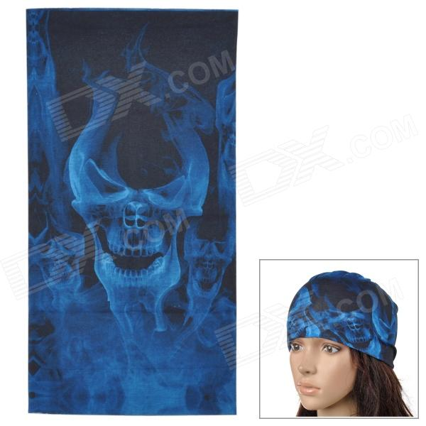 6032408 Outdoor Sports Seamless Polyester Fiber Turban Head Scarf - Blue + Black