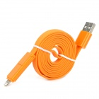 2-in-1 USB Male to 8-Pin Lightning + Micro USB Data / Charging Flat Cable - Orange (108 CM)