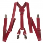 Fashionable Men's PU leather Clip-on Adjustable Suspender - Red + Silver