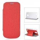 Protective PU Leather + ABS Case w/ Sleep Function for Samsung Galaxy S4 Mini - Red + White