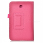 Lychee Grain Style Protective PU Leather Case for Samsung Galaxy Tab 3 T210 - Deep Pink