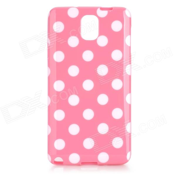 Polka Dot Style Protective TPU Back Case for Samsung Galaxy Note 3 N9000 - Pink + White protective silicone back case w stand for samsung galaxy note 3 translucent grey white