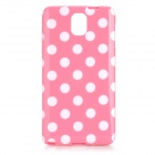 Polka Dot Style Protective TPU Back Case for Samsung Galaxy Note 3 N9000 - Pink + White