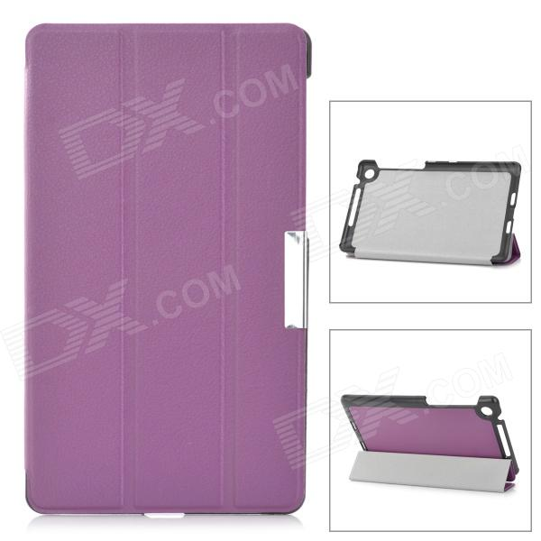 Lychee Grain Style Protective PU Leather Case w/ Sleep Function for Google Nexus 7 - Purple + Black