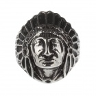 Fashionable Indian Head Portrait Stainless Steel Ring for Men- Silver (US Size 12)