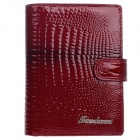 4378-B High Grade PU Leder Alligator Muster Folding Wallet - Deep Red