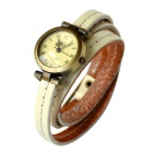 Fashion Retro Style PU leather Band Lady's Quartz Analog Wrist Watch - Black