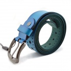 t.acttion 80102-6 Fashion Cow Split Leather Men's Waist Belt w/ Zinc Alloy Buckle - Blue + Silver