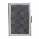 Stylish Check Pattern Aluminium Alloy Card Storage Case - Black + Silver