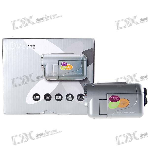 DV136ZB 1.5 TFT LCD 1.3MP CMOS digitale videocamera met USB/SD/MMC/AV-Out (32 MB geheugen)