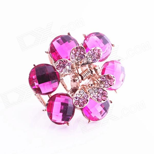 MaDou Princess F035 Flower Crystal Hairpin - Deep Pink + Golden