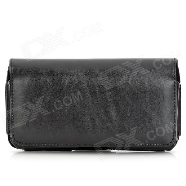 Couro Cintura i9200-BK-C protetora PU Bag Case for Samsung i9200 - Black