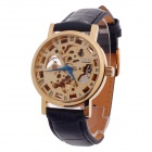 CJIABA Roman Number Double-Sided Hollow Automatic Men's Analog Wrist Watch - Black + Golden + Blue