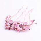 MaDouGongZhu F018 Flower Style Decorative Zinc Alloy Comb Hairpin - Red