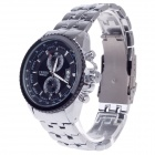 CJIABA 8082 Stainless Steel Band Simple Calendar Quartz Wrist Watch - Black + Silver (1 x LR626)