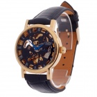 CJIABA GK8013 Roman Number Double-Sided Hollow Automatic Men's Wrist Watch - Black + Golden + Blue