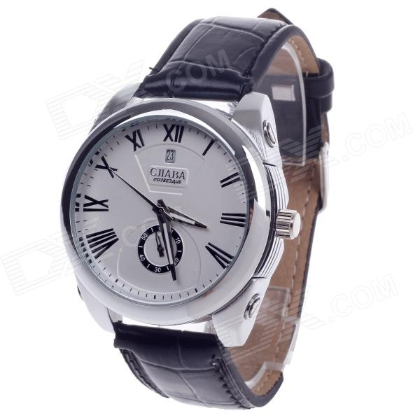 CJIABA GD102 Roman Numeral Mechanical Watch w/ Simple Calendar / Second Chronograph - Black + White