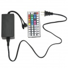 44-Key Infrared RGB Remote Controller + 60W Power Supply for LED Strip - Black