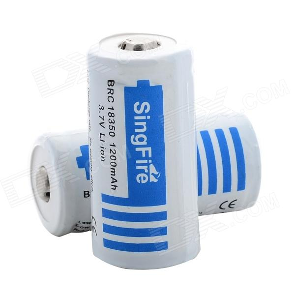 SingFire BRC 18350 3.7V 1200mAh Battery for Flashlight - White + Blue (2 PCS)