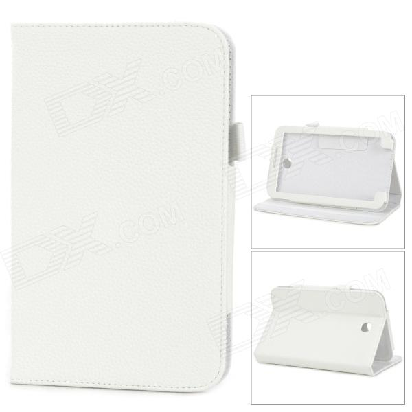 Lychee Grain Style Protective PU Leather Case for Samsung Galaxy Tab 3 T210 - White