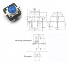 12 x 12mm Light Touch Switches w/ Blue Light - Silver (10 PCS)