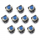12 x 12mm Light Touch Switches w / Luz Azul - Plata (10 PCS)