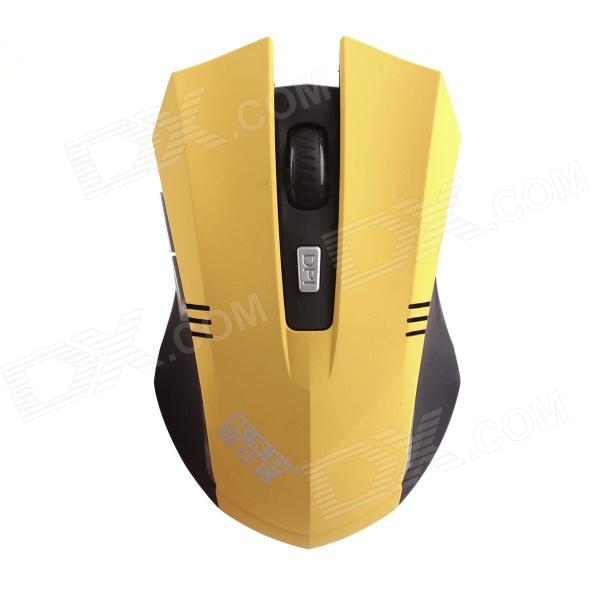 KSD 108A 2.4GHz Wireless Optical 600 / 800 / 1000 / 1200 DPI Gaming Mouse - Yellow + Black (2 x AAA) zuntuo zt 302 heise 2 4ghz 800 1200 1600 2000dpi wireless optical mouse black blue