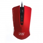 KSD 201 Wired USB 2.0 800 / 1200 / 1600 / 2400DPI Optical Game Mouse - Red + Black