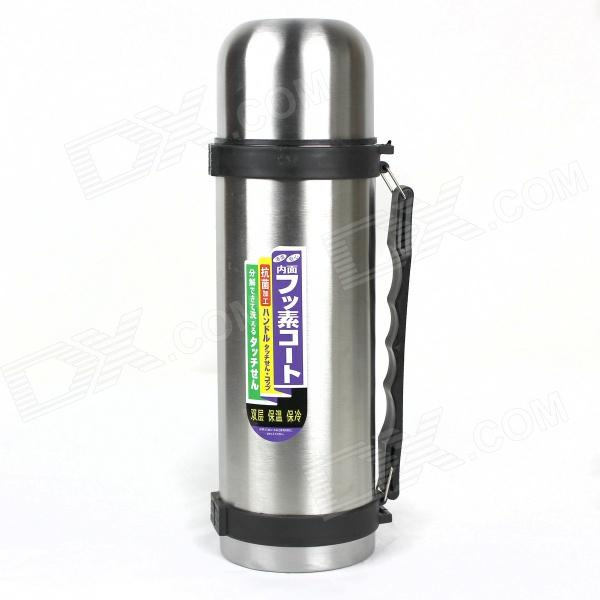 Stainless Steel Outdoor Sports Water Bottle - Silver + Black (1.5L)