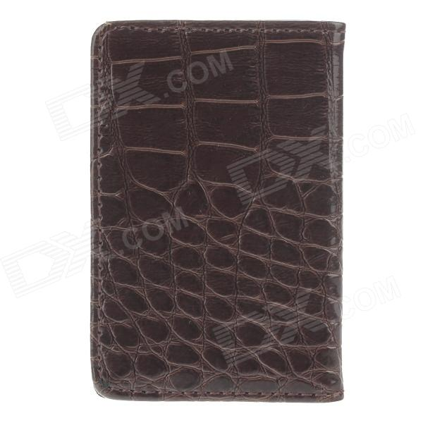 Stylish Alligator Pattern Portable PU Leather + Aluminum Alloy Magnet Business Card Case - Brown stylish alligator pattern portable pu leather aluminum alloy magnet business card case brown