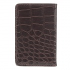 Stylish Alligator Pattern Portable PU Leather + Aluminum Alloy Magnet Business Card Case - Brown