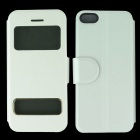 Protective PU Leather Case Cover Stand w/ Visual Windows for Iphone 5C - White
