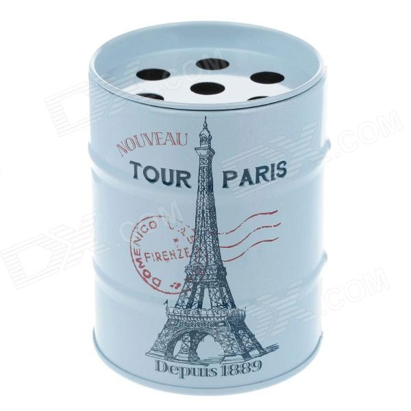 Oil Drum Shaped Eiffel Tower Pattern Stainless Steel Ashtray / Pen Holder - Light Blue + Red black red yellow blue skull design stainless steel tattoo foot pedal switch footswitch power supply