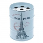 Oil Drum Shaped Eiffel Tower Pattern Stainless Steel Ashtray / Pen Holder - Light Blue + Red