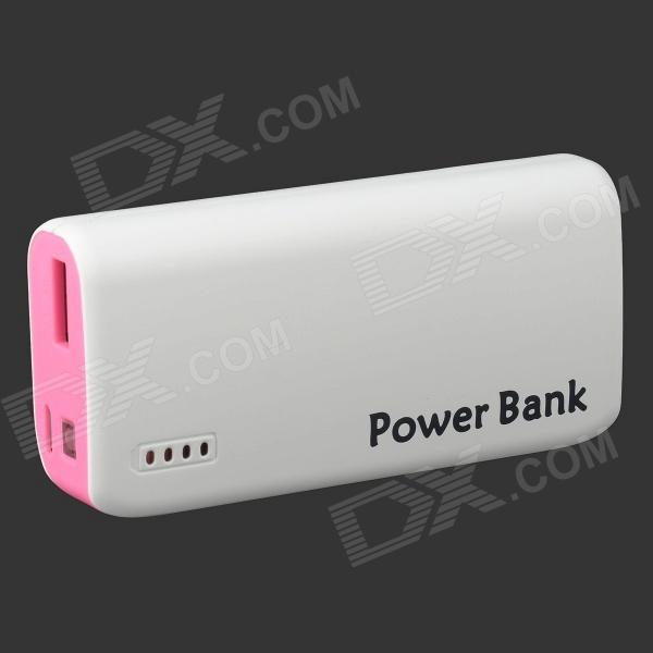 Portable 6000mAh Power Bank w/ Flashlight for Mobile + Tablet PC + More - Pink + White 6000mah mobile power bank w led flashlight white grey