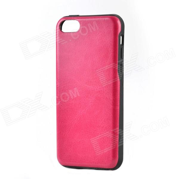 Protective Seamless Crazy Horse PU Leather Back Case for Iphone 5C - Deep Pink + Black cartoon pattern matte protective abs back case for iphone 4 4s deep pink