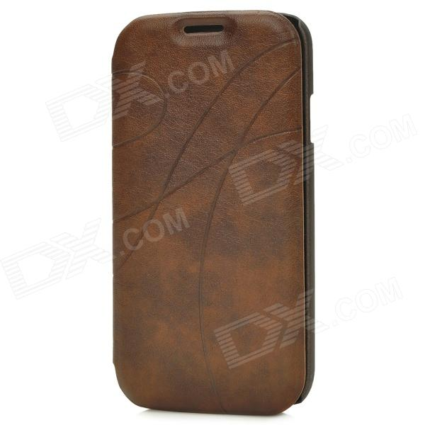 Protective Arc Line PU Leather Flip Open Case w/ Card Slots for Samsung i9500 - Brown high quality leather wallet style flip open case w card slots for iphone 6 plus brown