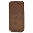 Protective Arc Line PU Leather Flip Open Case w/ Card Slots for Samsung i9500 - Brown