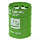 Fashion Oil Drum Shaped No Smoke Pattern Stainless Steel Ashtray / Pen Holder - Green + White