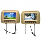 "PALJOY HA-720 7"" TFT Car Headrest / Pillow Monitors w/ Remote Controls / AV-In - Beige (2 PCS)"