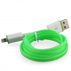 Luminous USB Male to Lightning Male Charging Data Sync Cable for iPhone5 / 5c / 5s - Green (93cm)