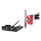 Unitek Y-6119 Desktop PCI-E USB 3.0 4-Port Expansion Card + Front Panel - Black + Red