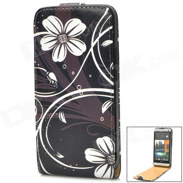 Protective Flower Pattern PU Leather Top Flip Open Case for HTC One M7 - Black + White genuine leather protective flip open case for htc one m7 black