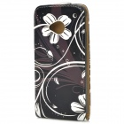 Protective Flower Pattern PU Leather Top Flip Open Case for HTC One M7 - Black + White