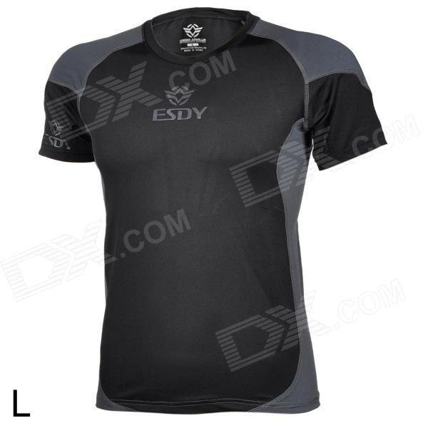 ESDY ESDY-8861 Men's Stylish Outdoor Cooldry Nylon T-shirt - Black + Gray (L) esdy 619 men s outdoor sports climbing detachable quick drying polyester shirt camouflage xxl