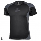 ESDY ESDY-8861 Men's Stylish Outdoor Cooldry Nylon T-shirt - Black + Gray (L)