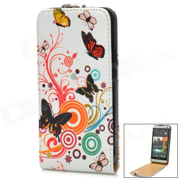 Protective Butterfly Pattern PU Leather Top Flip Open Case for HTC One M7  - White + Multicolor protective flip open pu leather plastic case for htc desire 700 black